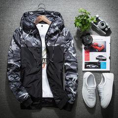Mens Jacket Thin Slim Long Sleeve Camouflage Military Jackets Hooded Windbreaker Zipper Outwear gray m