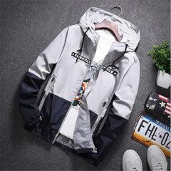 Bomber Hooded Jacket Men Casual Slim Patchwork Windbreaker Jacket Male Outwear Zipper Thin Coat gray s