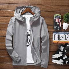 Summer Hooded Jacket Windbreaker Packable Skin Coat Sunscreen Waterproof Beach Casual Jackets gray s