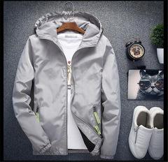 Men's Casual Hooded Bomber Jacket Spring Autumn Hip Hop Windbreaker Sportswear Zipper Jacket Coat gray s