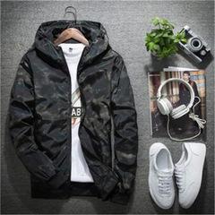 Mens Casual Camouflage Hoodie Jacket Men Waterproof Clothes Men's Windbreaker Coat Male Outwear black m