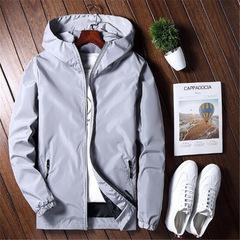 Casual Jacket Outerwear Zipper Mens Reflective Jackets Solid College Men's Windbreaker Varsity Coat gray m