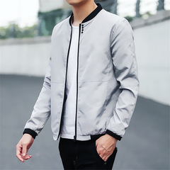 Casual Solid Slim Men Bomber Jacket Male Baseball Men's windbreaker Jackets Coat Men's Jacket gray m