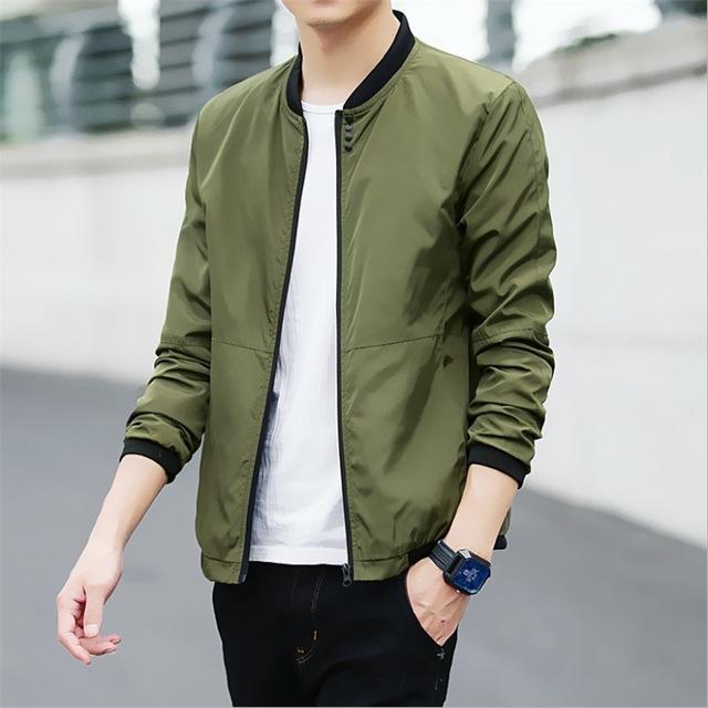 Casual Solid Slim Men Bomber Jacket Male Baseball Men's windbreaker Jackets Coat Men's Jacket army green 3xl