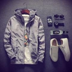 New Men Thin White Jacket Hooded Comfortable Yong Men Boy Casual Coat Student Windbreaker Jacket gray m