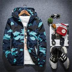 Men Jacket Fashion Spring Men Camouflage Jackets Casual Mens Coat Men's Hooded Luminous Zipper Coats blue m