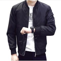 Casual Solid Slim Men Bomber Jacket Male Baseball Men's windbreaker Jackets Coat Men's Jacket black m