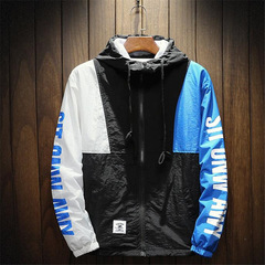 Block Pullover Hooded Jackets Autumn Zipper Tracksuit Casual Jacket Coats Hip Hop Male Streetwear blue m