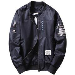 Jacket Men Pilot with Patches Green Both Side Wear Thin Pilot Bomber Jacket Men Wind Breaker Jacket black m