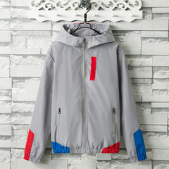 Patchwork Windbreaker Hooded Jackets Men Hip Hop Full Zip Up Pullover Tracksuit Jacket  Streetwear gray m