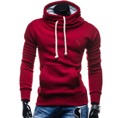 Autumn Hoodies Men Pullover Solid Color Turtleneck Sportswear Sweatshirt Men'S Tracksuits Moleton red s