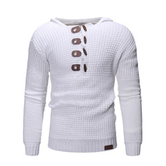 2019 Winter Autumn Casual Mens Sweater O-Neck Button Knitting Sweaters Hooded Slim Fit Men'S Sweater white m