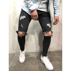 Fashion Streetwear Men's Jeans Vintage Blue Gray Color Skinny Destroyed Ripped Jeans balck m