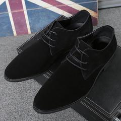 British Style Men Formal Footwear Wingtip Shoes Genuine Suede Leather Man Flats Calcado Hombre black 38 Cow Suede