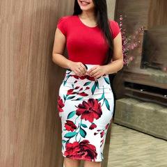 Women Dresses Short Sleeve Floral Print Patchwork Slim Bodycon Dress Cocktail Party Pencil Dress s red