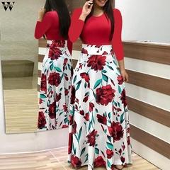 2019 Woman Dresses Women Floral Boho Print Dress Autumn Winter Female Long Dresses For Prom Vestidos s red