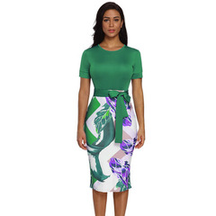 Women Elegant Casual Work Business Office Classic O neck Neck belt Printing Bodycon Pencil Dress s green