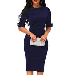 Ladies lapel straight dress short-sleeved knee-length dress dark blue red party dress Vestidos s dark blue