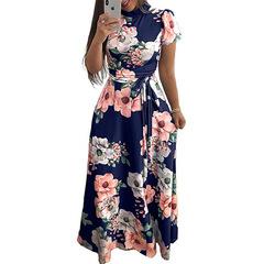 Women Long Maxi Dress Floral Print Boho Style Beach Dress Casual Short Sleeve Bandage Party Dress s dark blue