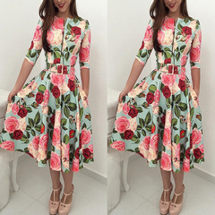 2019 Hot Women Bandage Bodycon Long Sleeve Short Mini Floral Party Cocktail Casual Dress s green