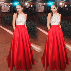 Long Elegant Sequin Patchwork Formal Party Ball Gown Prom Bridesmaid Wedding Slim Dress s red