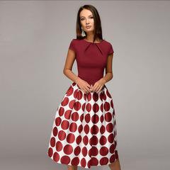 Vintage women wave point dress short sleeve patchwork A-line short dress Casual women vestidos s red