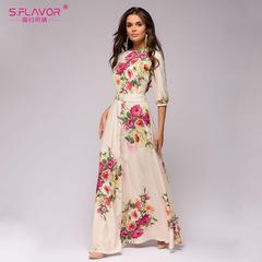 Spring Summer vestidos O-neck half lantern sleeve long dress for female Elegant Bohemian women dress s beige