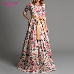 Bohemian printing long dress O-neck three quarter sleeve big hem women spring summer dress s beige