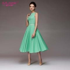 Vintage dress sleeveless O-neck vestidos Women elegant thin dot printing Mid-Calf casual dress s green