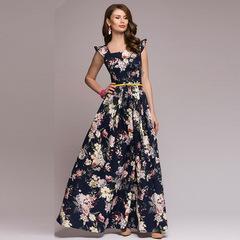 Women printing party dress Popular sleeveless square collar sexy long vestidos Women Elegant  dress s dark blue