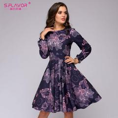 Women printing A-line dress Elegant purple color ruffles long sleeve short dress  vintage vestidos s purple