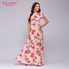 Women Summer Long Dress Short Sleeve Floral Print Boho Dress Elegant Party Dress Slim Sundress s pink