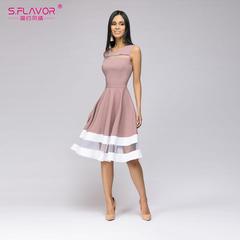 Women elegant knee-length dress sexy mesh patchwork O-neck A-line Vestido  Sleeveless party dress s purple