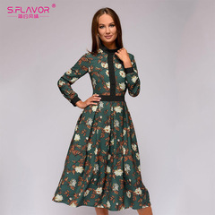 patchwork printing women A-line dress vintage style vestidos for female Casual bottom long dress s green