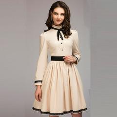 women A-line vintage dress solid lace patchwork knee length vestidos for female women spring dress s beige