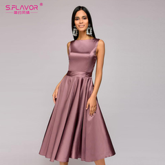 vintage style knee-length dress sleeveless elegant A-line vestidos with belt party short dress s purple