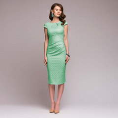 Summer dress Women Dot Print Slim dress Short Sleeve Office Business Dress Elegant Sheath Vestidos s green