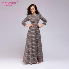 Retro wave point long dress Women vintage style O-neck three quarter sleeve Elegant vestidos dress s brown