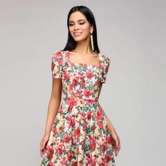 Women casual dress popular Dot printing vestidos for female Women Square collor A-line short dress s red