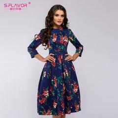 Elegant Women A-line Dress Flower printing Draped Middle Dress Women Casual autumn Summer Vestidos s navy