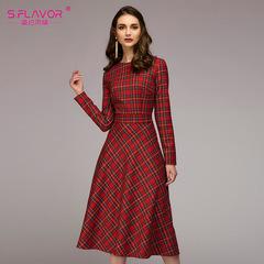 Women red plaid loose dress O-neck vintage long dress for female Elegant women Autumn winter dress s red