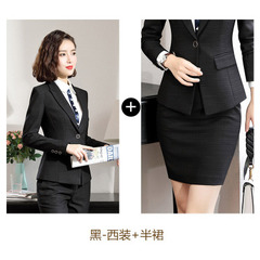 2019 Hot Work business Women's skirt suits Set for women blazer office lady clothes Coat Jacket suit black,coat+skirt s