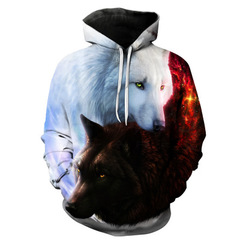 Autumn men's jacket Star Wolf digital print hooded sweater large size couple loaded morality white s