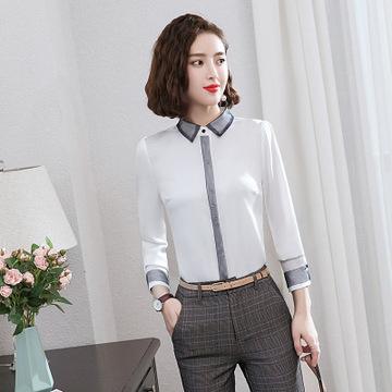 72be3c0790f706 Spring Fashion Casual white long sleeve T-Shirt Slim Formal Wear tshirt  feminine shirts ladies tops white s