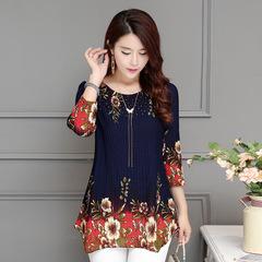 Spring Summer Three Quarter Slim Floral Long Shirt Female Casual Slim Color Elegant Printed Blouse blue m