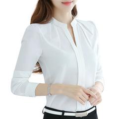 Women Chiffon Blouse Summer Casual Office V Neck Shirt Feminina White shirt  Long Sleeve Blouse white s