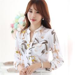 Summer V-Neck Chiffon Blouses Slim Women Chiffon Blouse Print Office Work Wear Shirts Women Tops white s