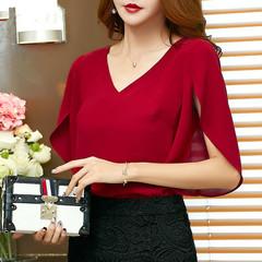 Summer Blouses Womens Solid Chiffon Shirt Blusa Feminina Butterfly Sleeve Korean Loose Women Blouse red s