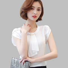 Summer Solid Chiffon Blouse Shirt Women Tops Short Sleeve Shirt Women Ladies Office Blouses white s
