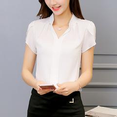 Summer Women Chiffon Blouse Short Sleeve Office Ladies Shirts Work Top Casul Female Clothing white s